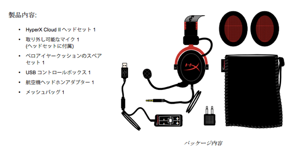 「HyperX Cloud II」の付属品